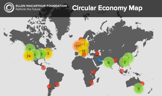 Karta visar engagemang för cirkulär ekonomi